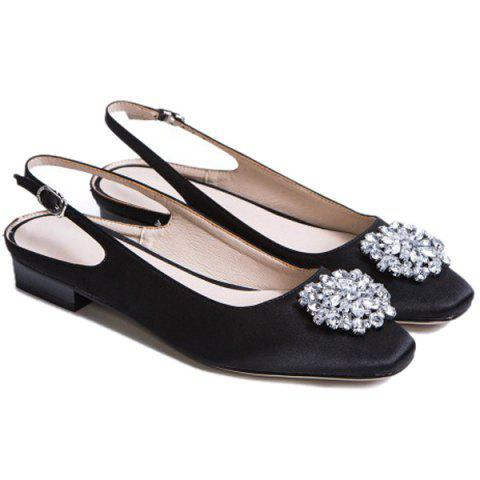 Chic Floral Slingbacks Beading Flat Shoes - 37 BLACK Mobile
