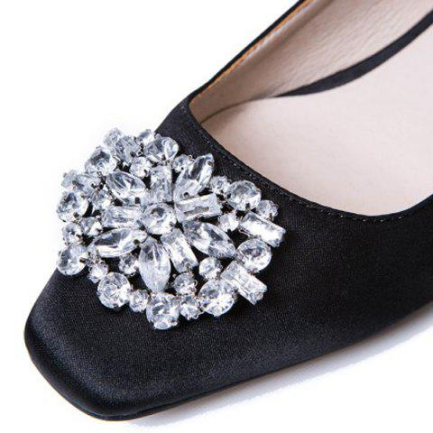 Cheap Floral Slingbacks Beading Flat Shoes - 37 BLACK Mobile