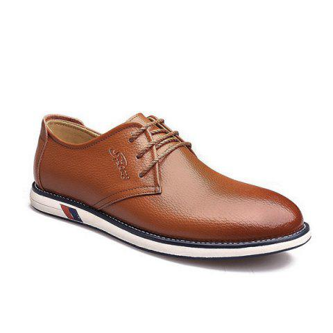 Shop Tie Up Faux Leather Casual Shoes - 41 LIGHT BROWN Mobile