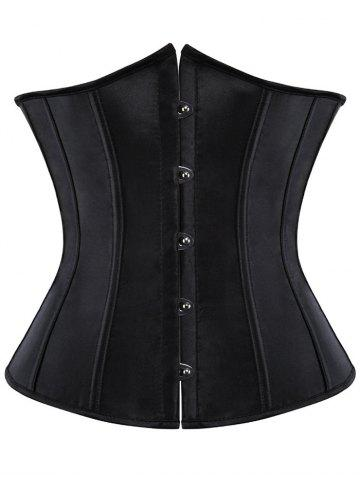 Steel Boned Lace Up Corset - Black - M