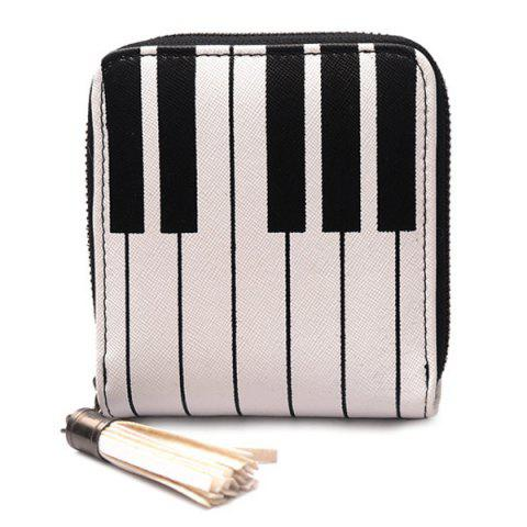 Store Piano Print Tassel Coin Purse - WHITE  Mobile