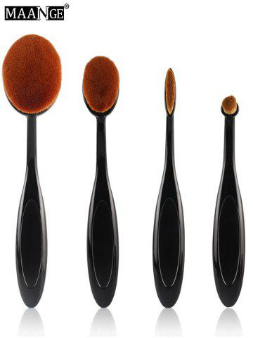 MAANGE 4 Pcs Nylon Oval Makeup Brushes Set - Black