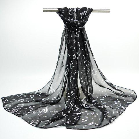 Unique Lightsome Tiny Musical Notes Printing Chiffon Scarf - BLACK  Mobile