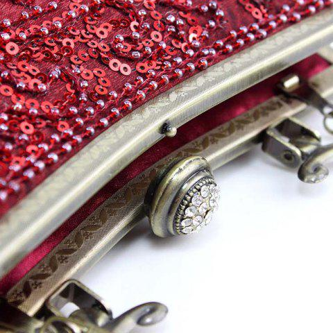 Buy Metal Trim Sequins Beaded Evening Bag - RED  Mobile