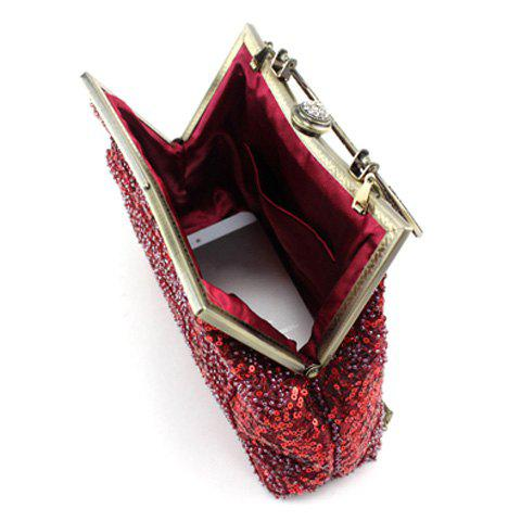New Metal Trim Sequins Beaded Evening Bag - RED  Mobile