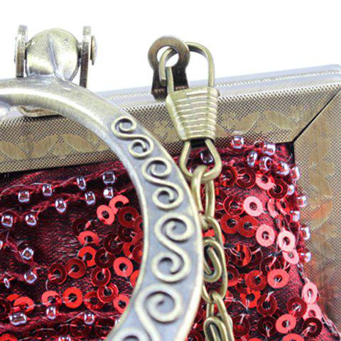 Trendy Metal Trim Sequins Beaded Evening Bag - RED  Mobile