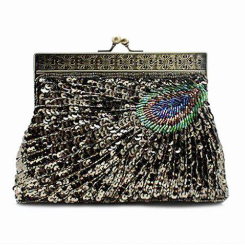 Buy Kiss Lock Sequins Beaded Evening Bag - ARMY GREEN  Mobile