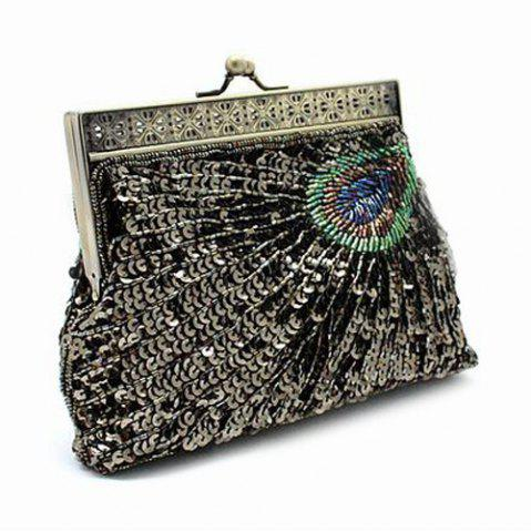 Unique Kiss Lock Sequins Beaded Evening Bag - ARMY GREEN  Mobile