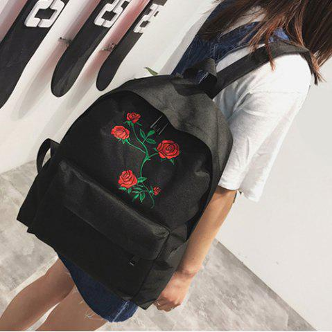 Chic Canvas Rose Embroidered Backpack - BLACK  Mobile