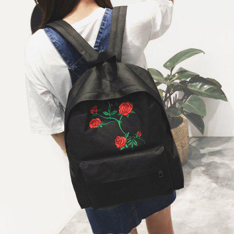 Buy Canvas Rose Embroidered Backpack BLACK