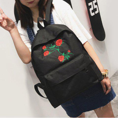 Latest Canvas Rose Embroidered Backpack - BLACK  Mobile