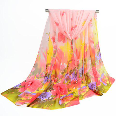 Affordable Fine Gauze Spring Blossom Printing Ombre Shawl Scarf LIGHT APRICOT PINK