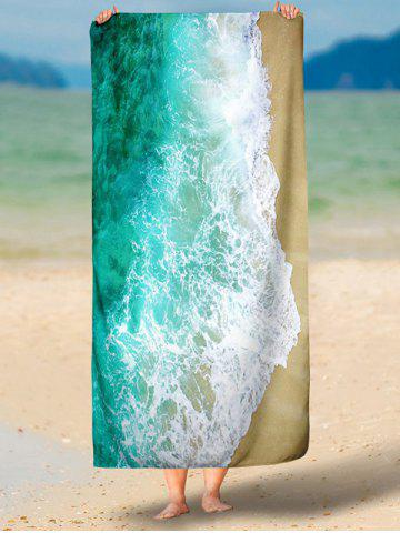 Sale Sea Tide Printed Polyester Fabric Beach Throw - L GREEN Mobile