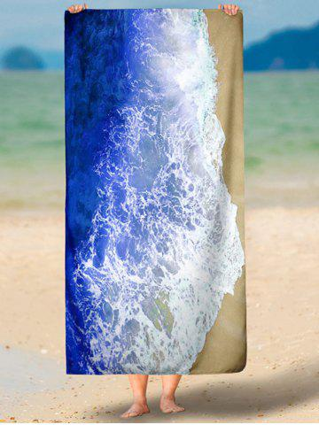 Hot Rectangle Beach Throw with Sea Tides Print - S BLUE Mobile