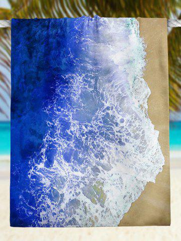 New Rectangle Beach Throw with Sea Tides Print - XL BLUE Mobile