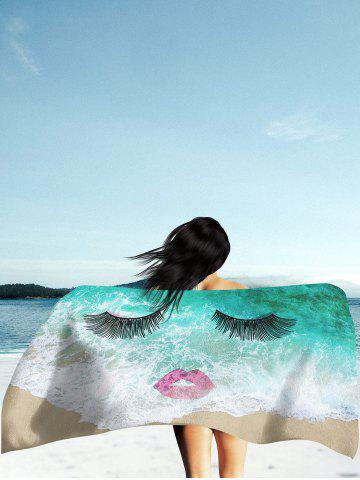Chic Sea Tide Red Lip Eyelashes Beach Throw