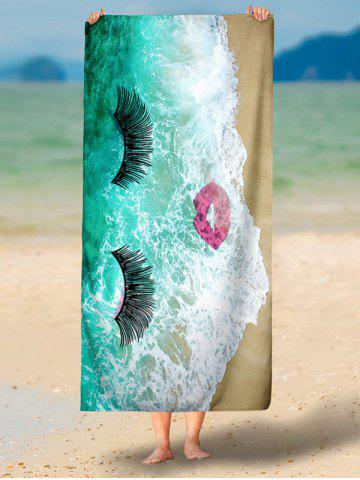 Discount Sea Tide Red Lip Eyelashes Beach Throw - XS GREEN Mobile