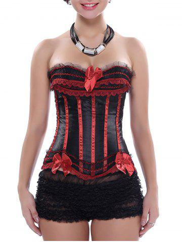 Zippered Laced Lace-Up Corset - Red With Black - 2xl