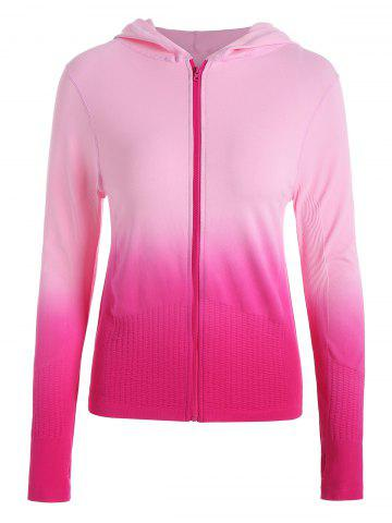 Zip Up Ombre Hooded Sports Jacket Rose Rouge M
