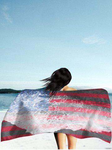 Discount Patriotic Flag and Sea Tide Print Rectangle Beach Throw - 2XL MULTICOLOR Mobile