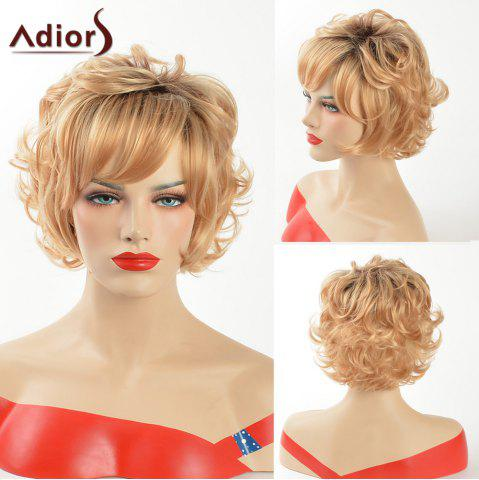 Outfit Adiors Dark Root Short Curly Side Bang Synthetic Hair COLORMIX