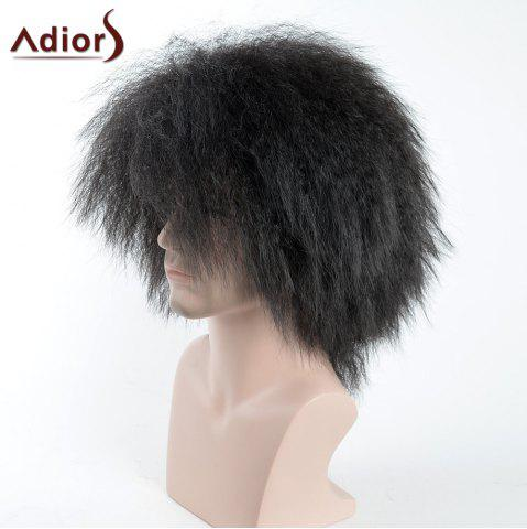 Discount Adiors Shaggy Short Side Bang Afro Men Synthetic Wig - BLACK  Mobile
