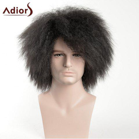 Chic Adiors Shaggy Short Side Bang Afro Men Synthetic Wig - BLACK  Mobile