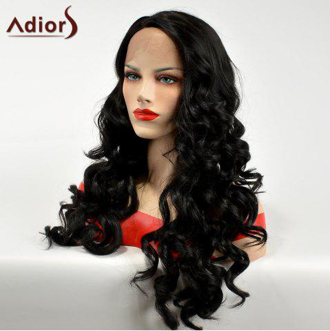 Discount Adiors Side Part Lace Front Long Body Wave Synthetic Hair - BLACK  Mobile