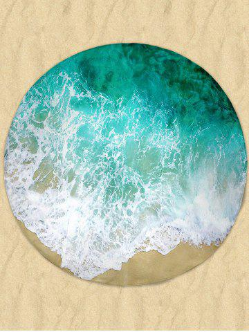 Online Sea Wave Print Round Milk Silk Fabric Beach Throw - GREEN  Mobile