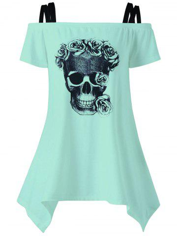 New Off The Shoulder Skull Asymmetrical T-Shirt MINT M