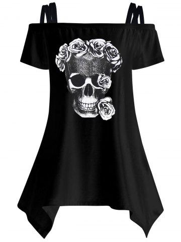 Off The Shoulder Skull Asymmetrical T-Shirt - BLACK 2XL