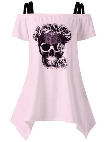 Buy Off The Shoulder Skull Asymmetrical T-Shirt