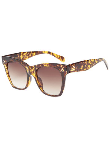 Cheap UV Protection Ombre Wide Wayfarer Sunglasses - LEOPARD+BROWN  Mobile