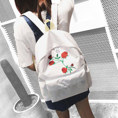 Trendy Canvas Rose Embroidered Backpack - WHITE  Mobile