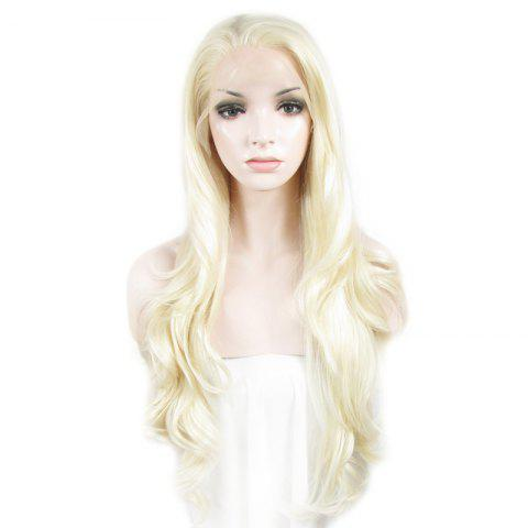 Outstanding Towheaded Wavy Stylish Long Heat Resistant Fiber Lace Front Wig For Women - Light Blonde 1001 And 613# - 24inch