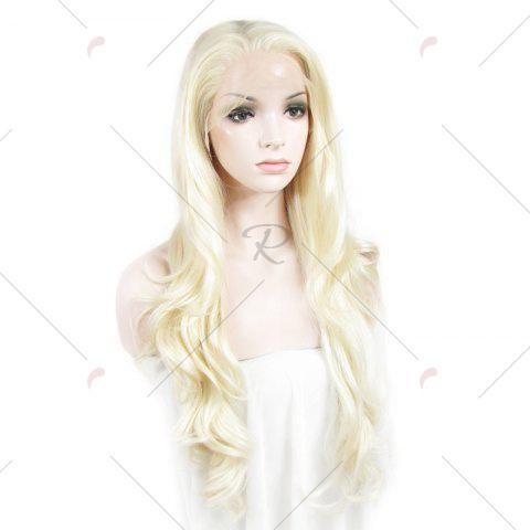 Latest Outstanding Towheaded Wavy Stylish Long Heat Resistant Fiber Lace Front Wig For Women - LIGHT BLONDE 1001/613#  Mobile