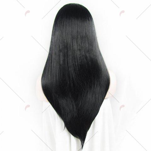 Unique Charming Long Natural Straight Heat Resistant Synthetic Vogue Lace Front Wig For Women - JET BLACK 01#  Mobile