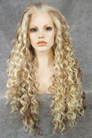 Chic Ombre Fluffy Long Curly Heat Resistant Synthetic Women's Lace Front Wig - Golden