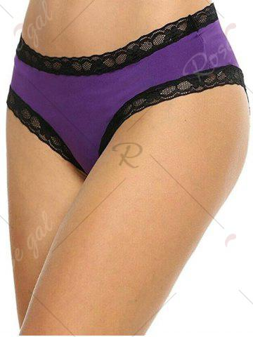 Fancy Cut Out Lace Insert Panty - ONE SIZE PURPLE Mobile