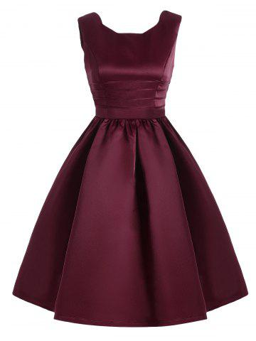 Fashion Sweetheart Neck Vintage Fit and Flare Dress WINE RED 2XL
