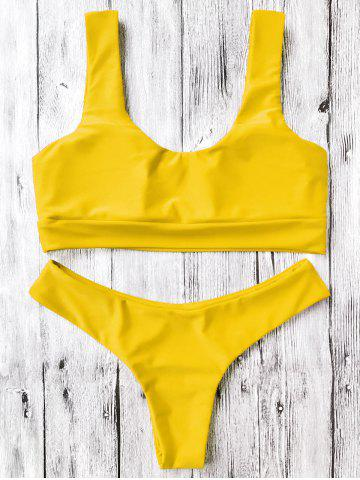 60964a1c72 U Neck Padded Bralette Thong Bikini Set - Yellow - S