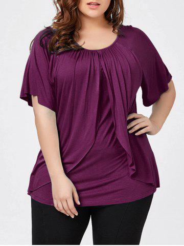 Unique Plus Size Raglan Sleeve Overlay T-Shirt