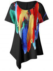 Plus Size Long Feather Print Asymmetric T-Shirt - BLACK