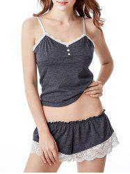 Lace Trim Cami Pajamas Summer Set