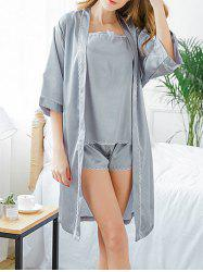 Longline Lace Trim Pajama Robe Set