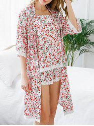 Longline Floral Lace Trim Pajamas Set