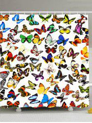 Colorful Butterfly Waterproof Fabric Shower Curtain - COLORFUL