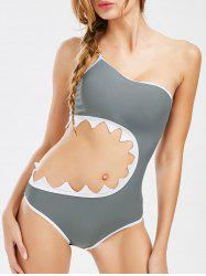 One Shoulder Cut Out Swimsuit With Metal Chain