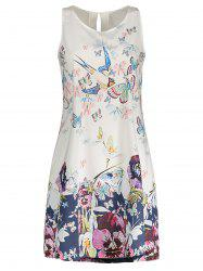Butterfly Floral Print Sleeveless Shift Dress - WHITE