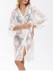 Embroidered Sheer Long Kimono Beach Cover Up - WHITE